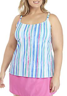 Kim Rogers® Plus Size Painted Stripe Strappy Tankini Swim Top
