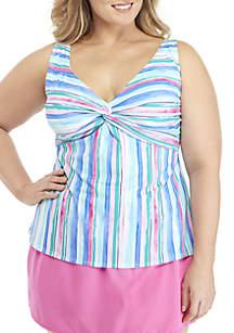 Kim Rogers® Plus Size Painted Stripe Twist Front Tankini Swim Top