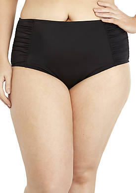 Plus Size Ruched Full Coverage Swim Bottoms