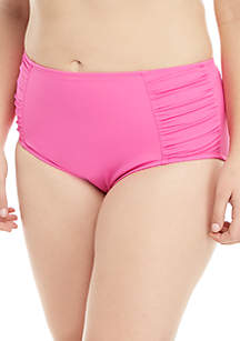 Kim Rogers® Plus Size Ruched Full Coverage Swim Bottoms