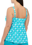 Plus Size Printed High Neck Tankini Swim Top