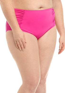 Plus Size Side Shirred Brief Swim Bottoms