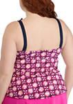 Plus Size Painted Tile Ruffle Tankini Swim Top