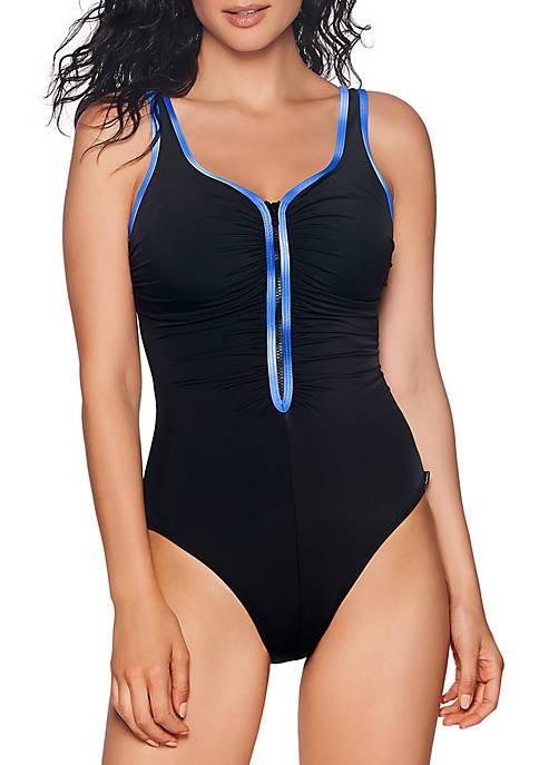 Sunglow Shirred Zipper One Piece Swimsuit