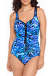 Laser Tag Zipper One Piece Swimsuit
