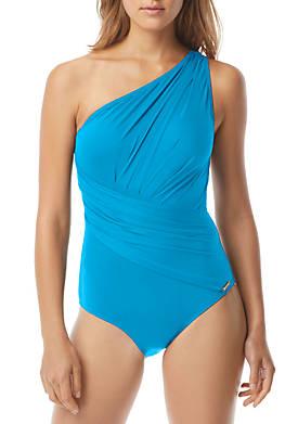 One Shoulder Shirred Surplice Swimsuit