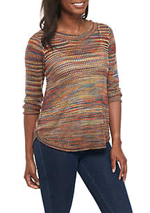 Three-Quarter Sleeve Scoop Hem Open Stitch Pullover