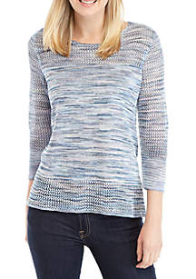New Directions® 3/4 Sleeve Open Stitch Sweater