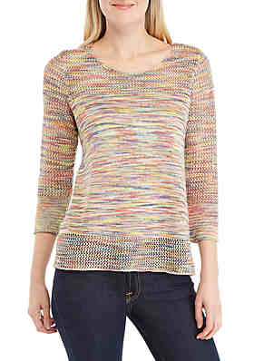 664d33af048 New Directions® 3 4 Sleeve Open Stitch Sweater ...