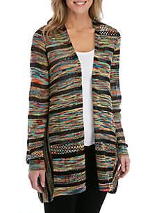 New Directions® Long Sleeve Marled Stripe Cardigan