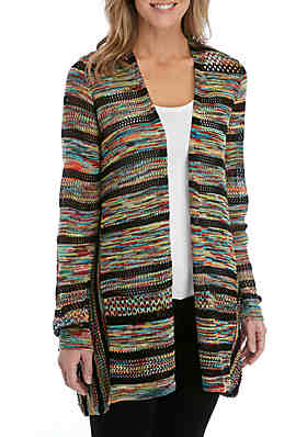 d18f6c20662 New Directions® Long Sleeve Marled Stripe Cardigan ...