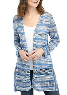 New Directions® Long Sleeve Marled Stripe Cardigan