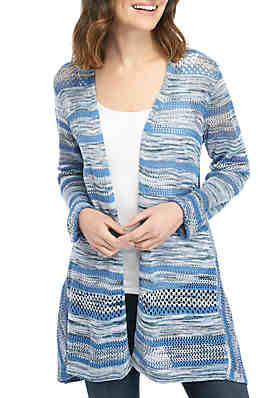 460824329 New Directions® Long Sleeve Marled Stripe Cardigan ...