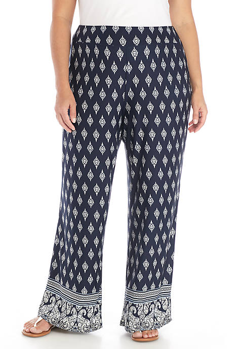 New Directions® Pull-On Palazzo Border Print Pants