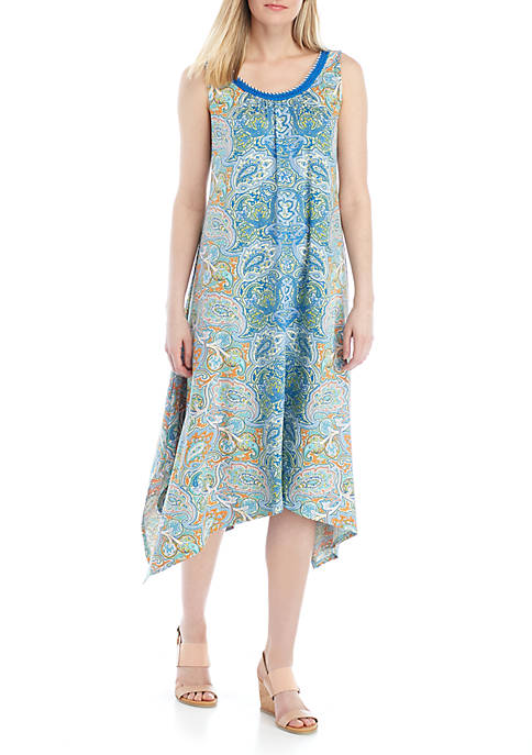 New Directions® Sleeveless Printed Shark Bite Hem Dress