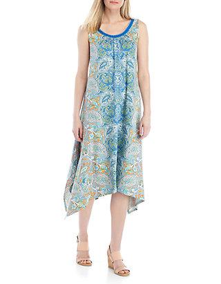 fa5aef55521 New Directions®. New Directions® Sleeveless Printed Shark Bite Hem Dress