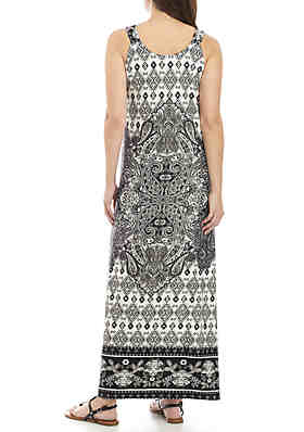 cdd8adc442c ... New Directions® Sleeveless Grommet Strap Printed Maxi Dress