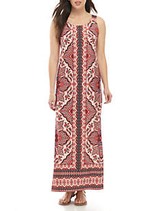 9a4a54f898d ... New Directions® Sleeveless Grommet Strap Printed Maxi Dress