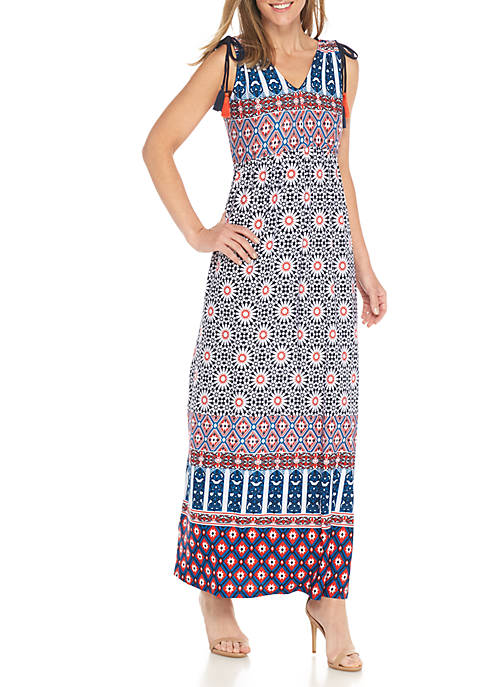 New Directions® Tassel Tie Cinched Waist Maxi Dress
