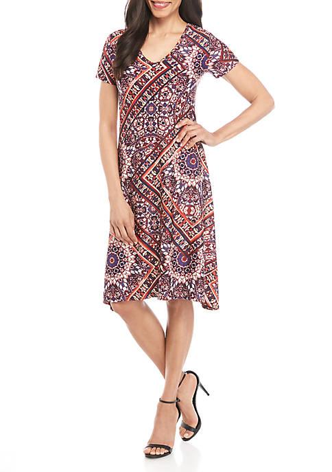 New Directions® Geometric Short Sleeve A Line Dress