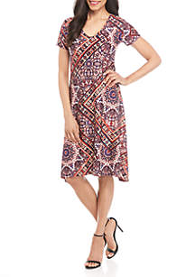 New Directions® Geometric Short Sleeve A Line Dress