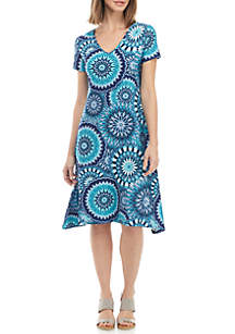 New Directions® Ikat Short Sleeve A Line Dress