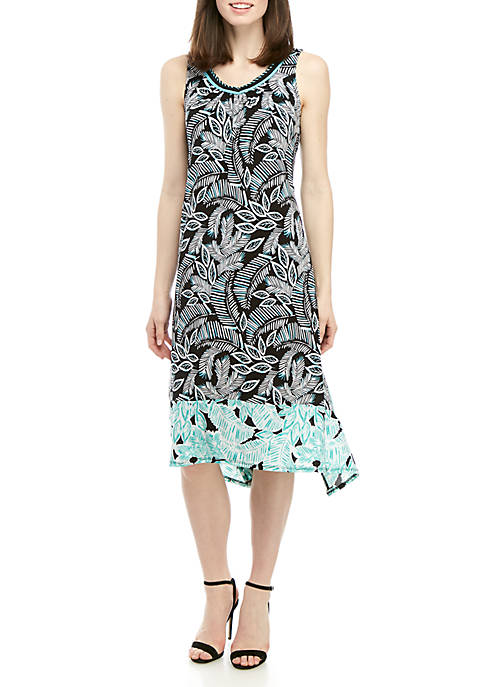 Sleeveless Printed Shark Bite Ity Dress