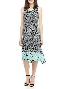 Sleeveless Printed Shark Bite Dress