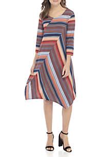 3/4 Sleeve Asymmetrical Dress