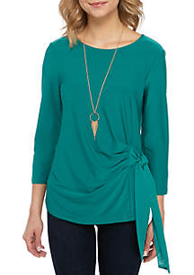 New Directions® 3/4 Sleeve Side Tie Top with Necklace