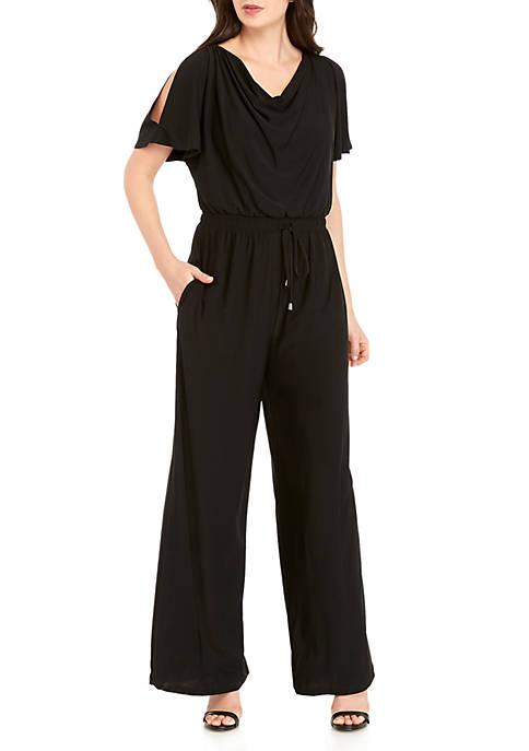 New Directions® Short Sleeve Drape Front Jumpsuit