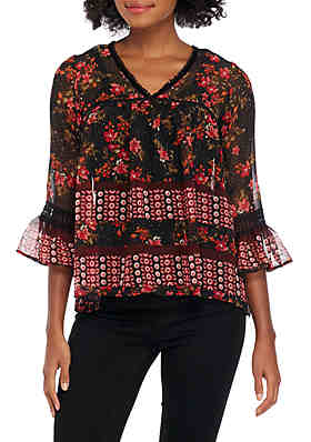 653f786e6aed9 New Directions® 3 4 Sleeve Mixed Border Print with Trim Top ...