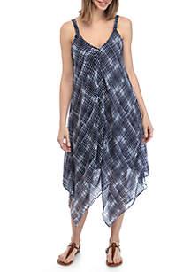 New Directions® Sleeveless Handkerchief Hem Dress with Chiffon Overlay