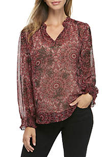 Long Sleeve Floral Printed Smocked Neck And Sleeve Top