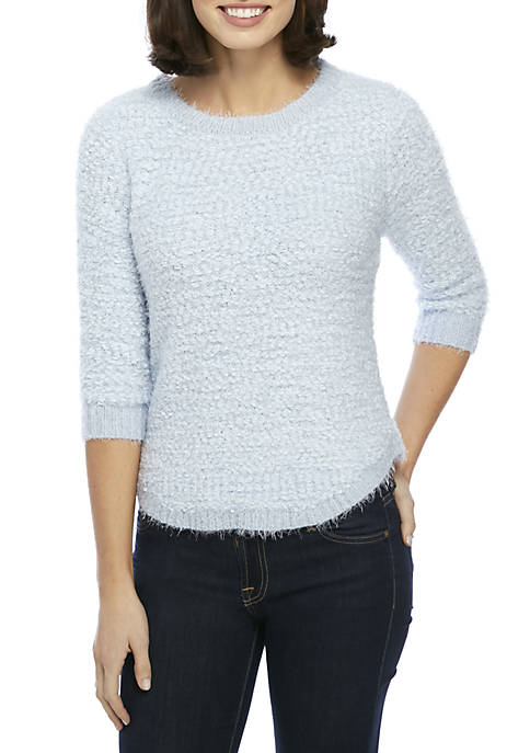 New Directions® Long Sleeve Eyelash Popcorn Pullover