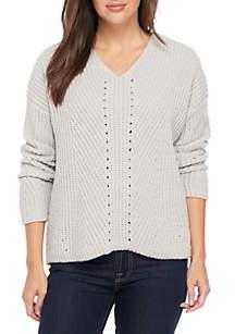 Long Sleeve Chenille V-Neck Pullover