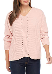 New Directions® Long Sleeve Chenille V-Neck Pullover