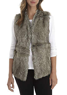 Sleeveless Fur Vest with Sweater Back