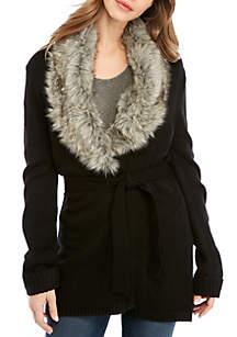 Faux Fur Collar Wrapped Cardigan