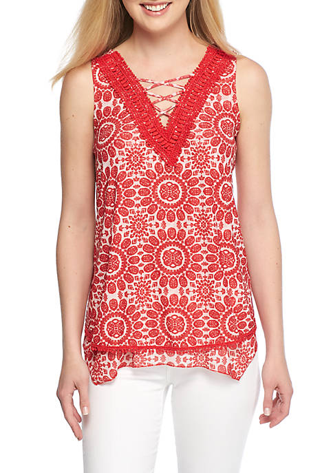 New Directions® Sleeveless Cross Front Mesh Tank