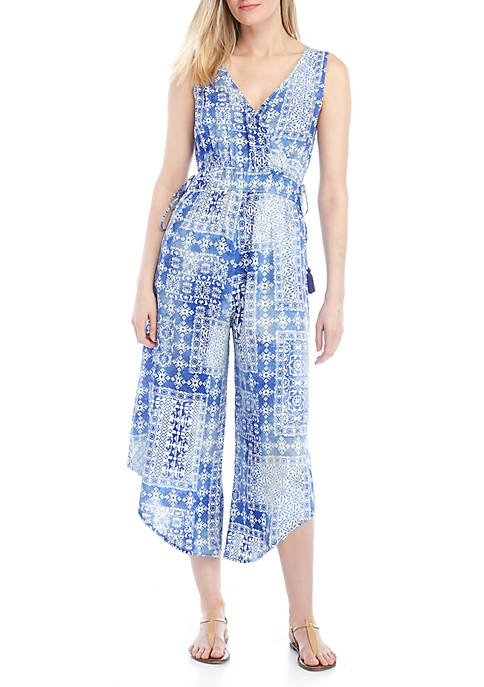 New Directions® Sleeveless Smocked Waist Jumpsuit