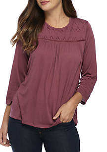 3/4 Sleeve Pink Textured Knit Top