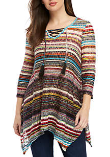 3/4 Sleeve Lace Up Front Multi Stripe Top
