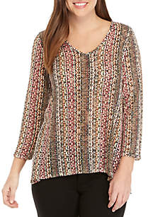 New Directions® 3/4 Sleeve Printed Slub Hacci Top with Back Detail