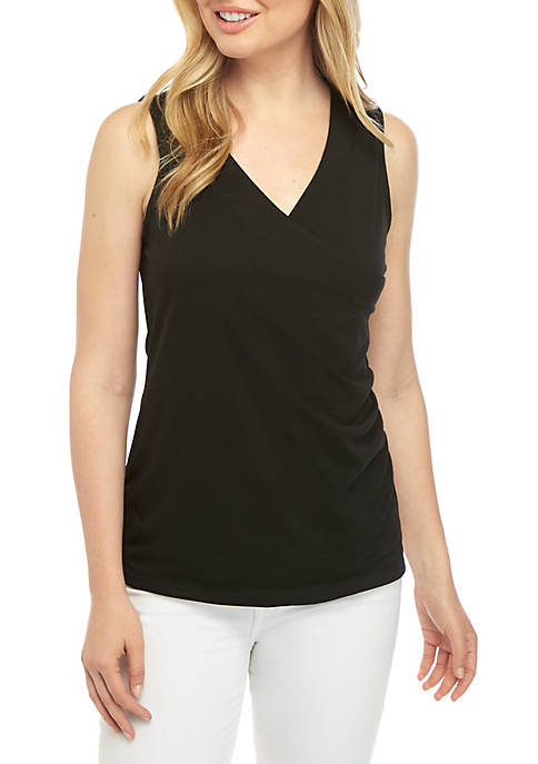 New Directions® Knit Sleeveless Surplice Tank