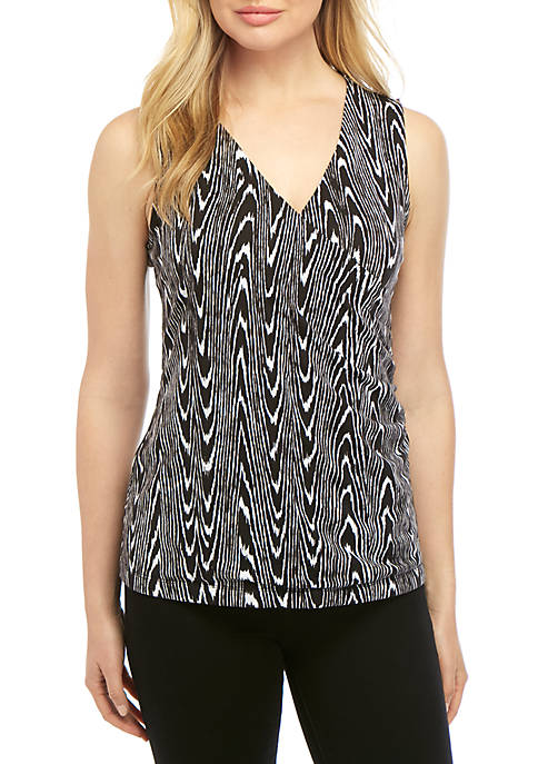 New Directions® Womens Sleeveless Knit Printed Surplice Tank
