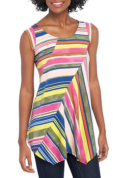 Sleeveless Pointed Hem Multi Stripe Knit Top