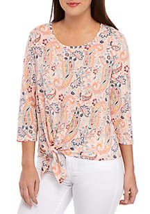 New Directions® Short Sleeve Paisley T Shirt