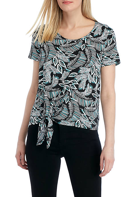Short Sleeve Printed Tie Front T Shirt