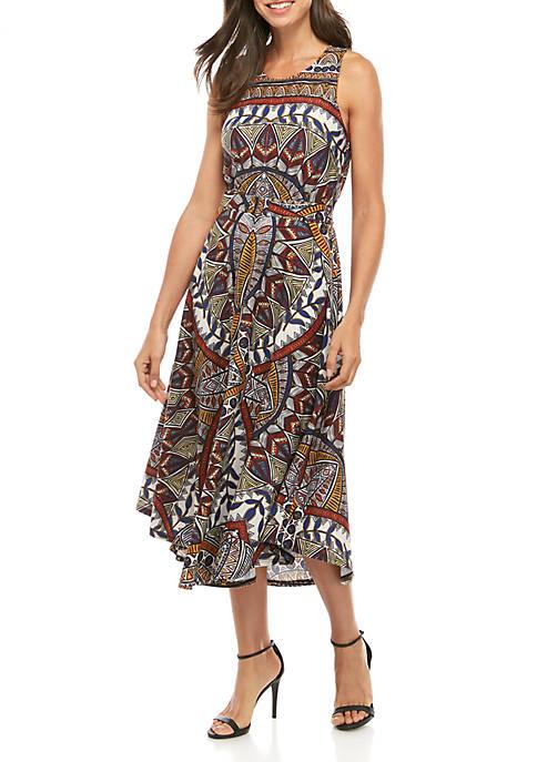 Sleeveless Print Tie Front Dress